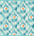ikat pattern with peacock feathers vector image vector image