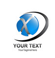 initial letter x logo template colored black blue vector image vector image