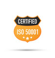 iso 50001 certified badge icon vector image