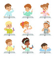 kids brushing teeth set cute boys and girls vector image