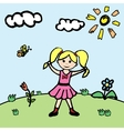 Little girl in flower meadow vector image