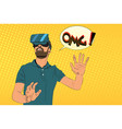 man with virtual reality glasses vector image vector image