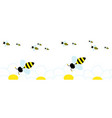 many cute bees they fly to collect pollen from vector image