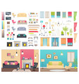 modern interiors of different comfortable flats vector image vector image