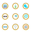 ophthalmology icons set cartoon style vector image vector image