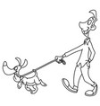 outlined man walking dog vector image vector image