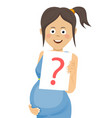 pregnant woman holding paper with question sign vector image vector image