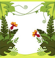 rainforest plants jungle leaves and flowers frame vector image vector image
