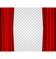 realistic red opened stage curtains on a vector image