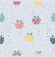 seamless hand drawn pattern with colorful apples vector image vector image
