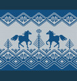 seamless knitted pattern with horses 2 colors vector image vector image