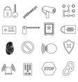 security black simple outline icons set eps10 vector image