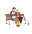 senior love couple two old people sitting