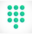 set round 0-9 number icons vector image vector image