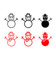set snowman icons and symbol vector image vector image
