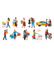 shopping people trendy family and couples cartoon vector image vector image