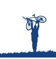 Silhouette of a cyclist on the grass vector image vector image