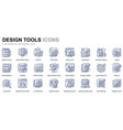 simple set design tools line icons for website vector image vector image