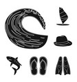 surfing and extreme black icons in set collection vector image vector image