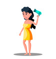 teenager girl drying her hair with hair dryer vector image