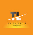 tl t l letter modern logo design with yellow vector image vector image