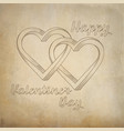 two hearts intertwined painted on old paper vector image vector image