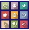 Office icons on coloured backgrounds vector image