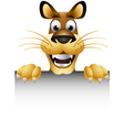 skinny cute cartoon lion with blank sign vector image