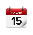 January 15 flat daily calendar icon Date vector image