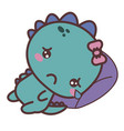 a dinosaur sad girl crying lying on a pillow vector image vector image