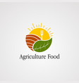 agriculture food with sun leaf logo icon element vector image