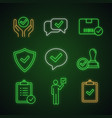 approve neon light icons set vector image vector image