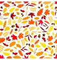 Autumn leaves with acorns seamless pattern vector image