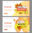 autumn sale and discounts seasonal propositions vector image