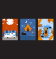 banners with camping van tent and kayak outdoor vector image