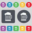 Beer glass icon sign A set of 12 colored buttons