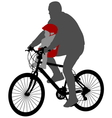 Bicyclist with baby in bicycle chair vector image vector image