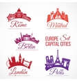 Biggest Europe capital cities skylines with vector image vector image