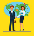 businessman and businesswoman shaking hands in vector image