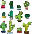 cactus sketch colored vector image vector image