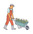 cartoon farmer man moving plants in wheel barrow