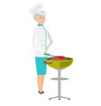 caucasian chef cooking meat on barbecue grill vector image vector image