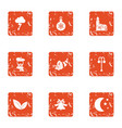christmas city icons set grunge style vector image vector image