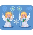 christmas cute angels set vector image vector image