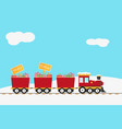 christmas design with red train and wooden sign vector image vector image