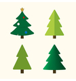 Christmas tree cartoon icons set vector image