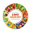color diet healthy food 6 days nutrition vector image vector image