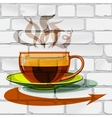 Cup of hot coffee glass arrow on the wall vector image vector image