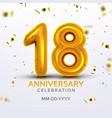 eighteen anniversary celebration number vector image vector image