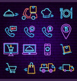food delivery neon icons vector image
